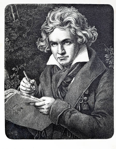 Engraving of composer Ludwig van Beethoven  1880 stock illustrations