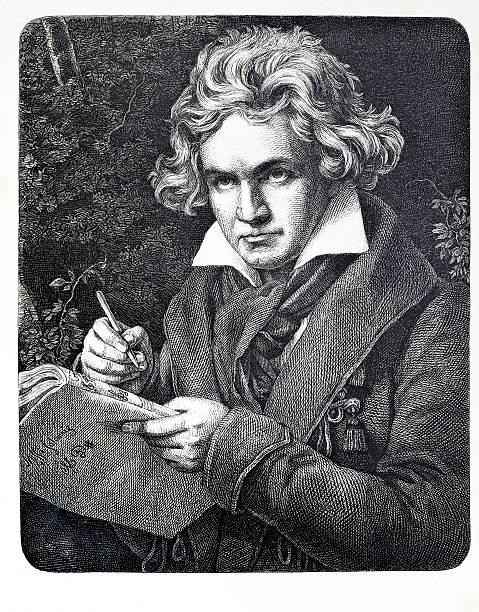 stockillustraties, clipart, cartoons en iconen met engraving of composer ludwig van beethoven - 18e eeuw