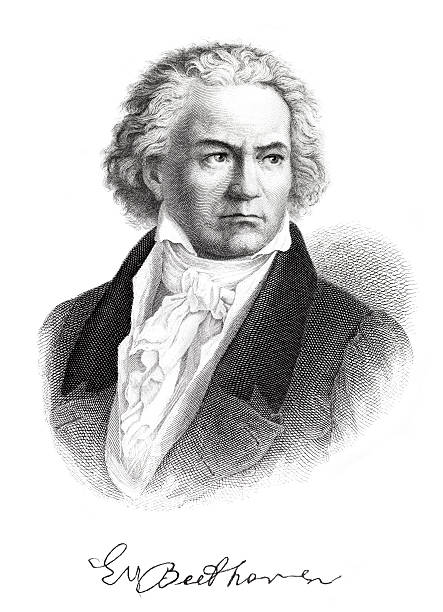 Engraving of composer Ludwig van Beethoven with signature from 1882 /file_thumbview_approve.php?size=1&id=14055207 1880 stock illustrations