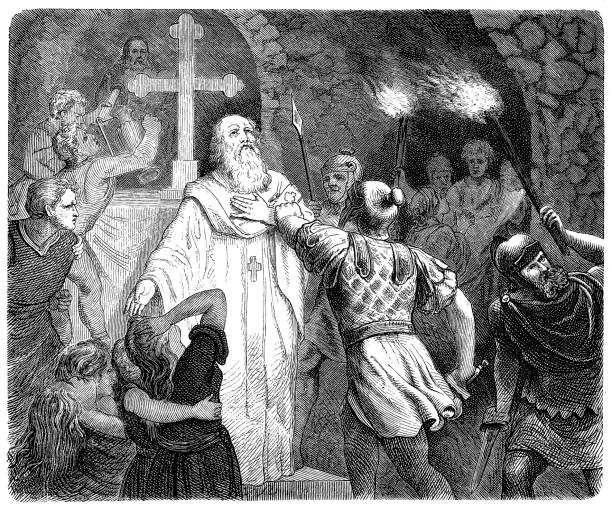 engraving of early christians being hunted in the roman catacombs - old man praying picture pictures stock illustrations, clip art, cartoons, & icons