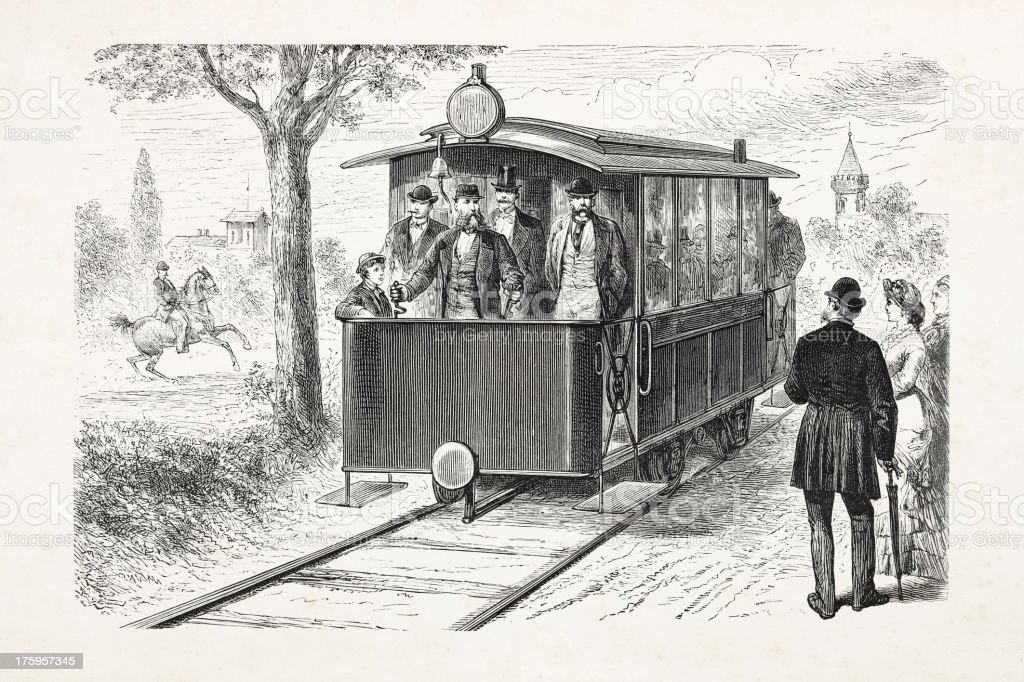 Engraving of electric train near Berlin 1881 royalty-free stock vector art