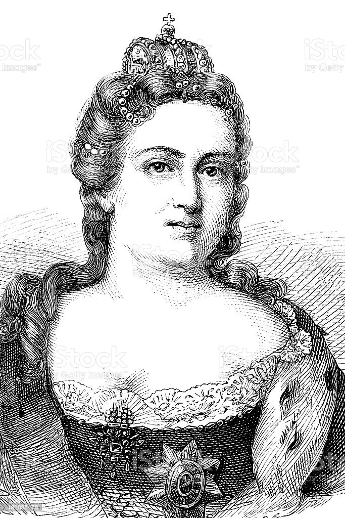 Engraving of empress Catherine I from 1870 royalty-free engraving of empress catherine i from 1870 stock vector art & more images of 19th century
