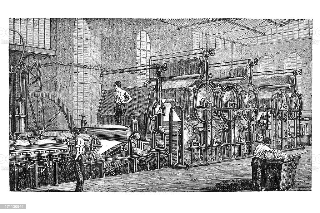 Engraving of factory producing paper 1850 vector art illustration