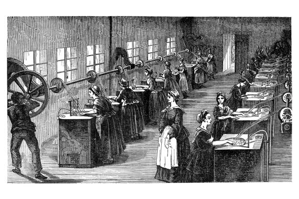 stockillustraties, clipart, cartoons en iconen met engraving of factory producing silk - 18e eeuwse stijl