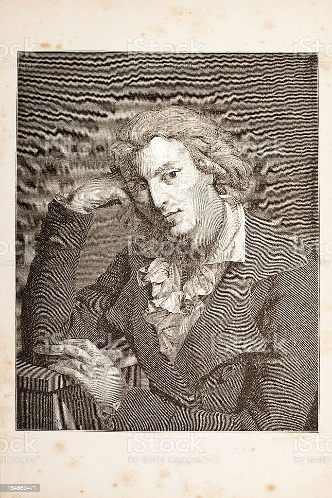 Engraving of german writer and philosopher Friedrich Schiller from 1882 royalty-free stock vector art