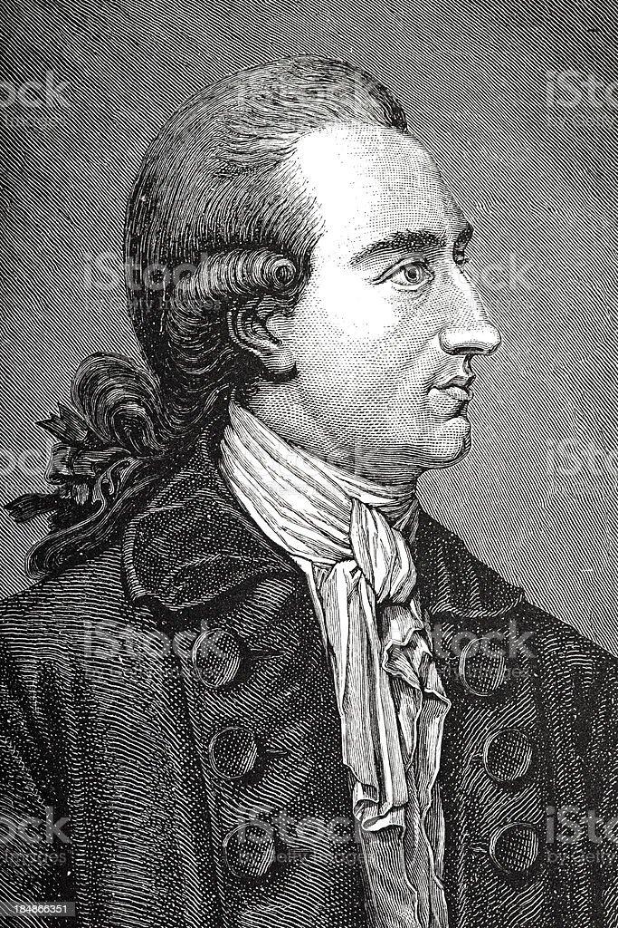 Engraving of  german writer Johann Wolfgang von Goethe royalty-free engraving of german writer johann wolfgang von goethe stock vector art & more images of 18th century