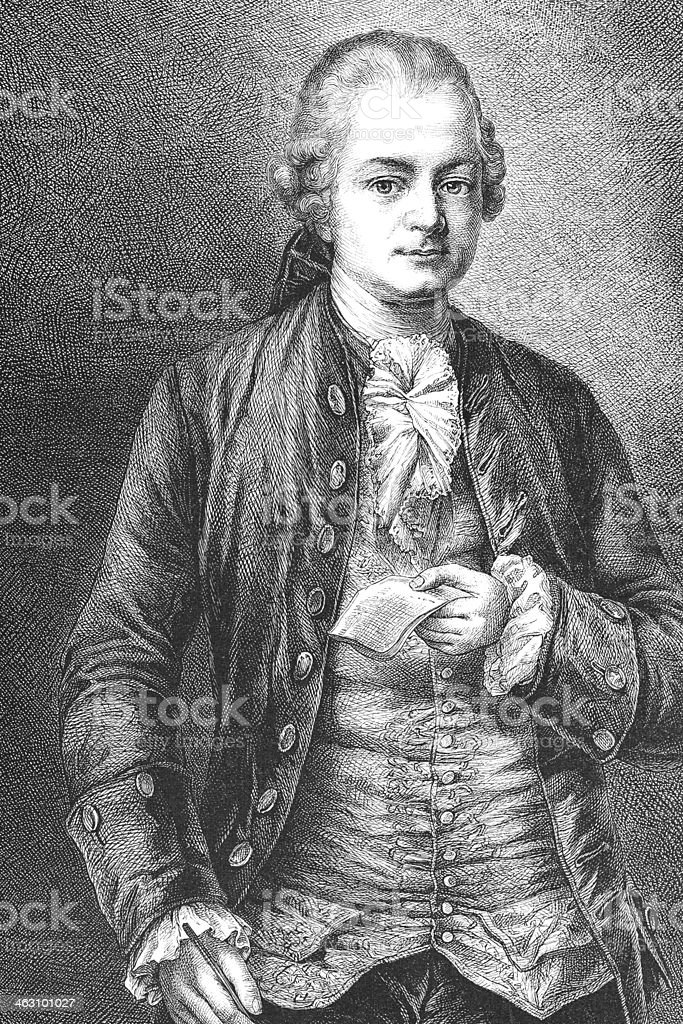 Engraving of german writer philosopher Ephraim Lessing royalty-free stock vector art