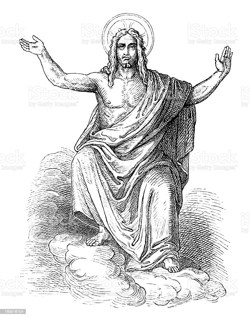 Engraving of god sitting on a cloud from 1870 royalty-free engraving of god sitting on a cloud from 1870 stock vector art & more images of 18th century