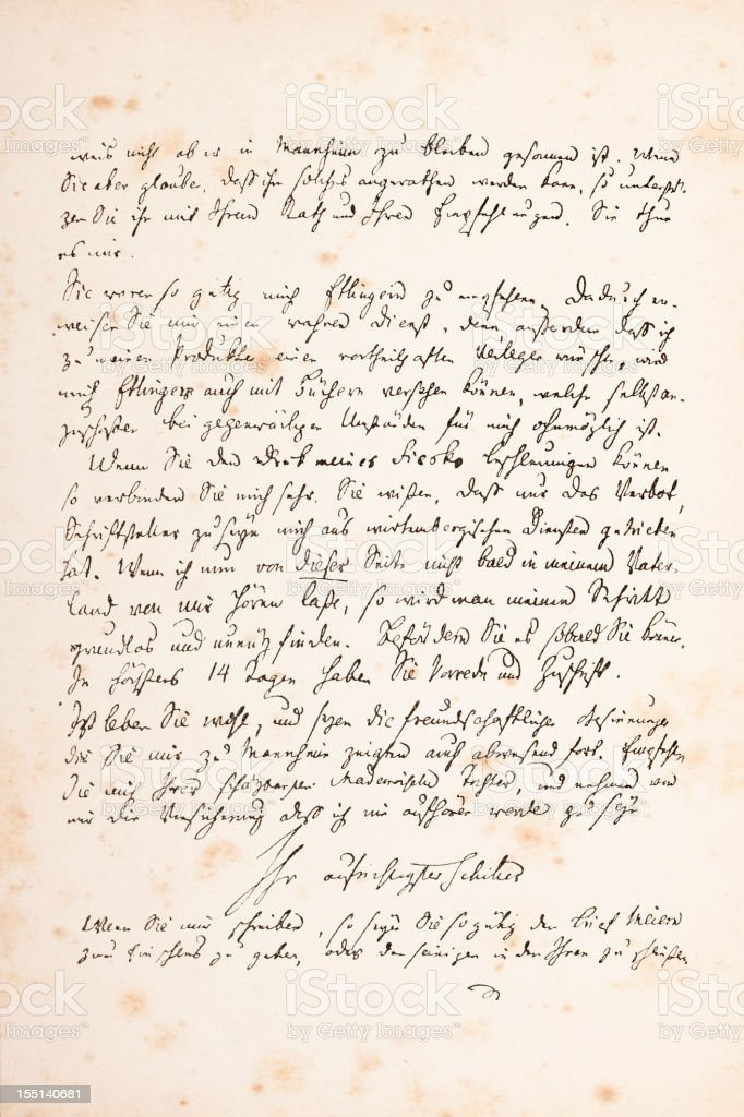 Engraving of handwritten letter from Friedrich Schiller 1782 royalty-free engraving of handwritten letter from friedrich schiller 1782 stock vector art & more images of 17th century style