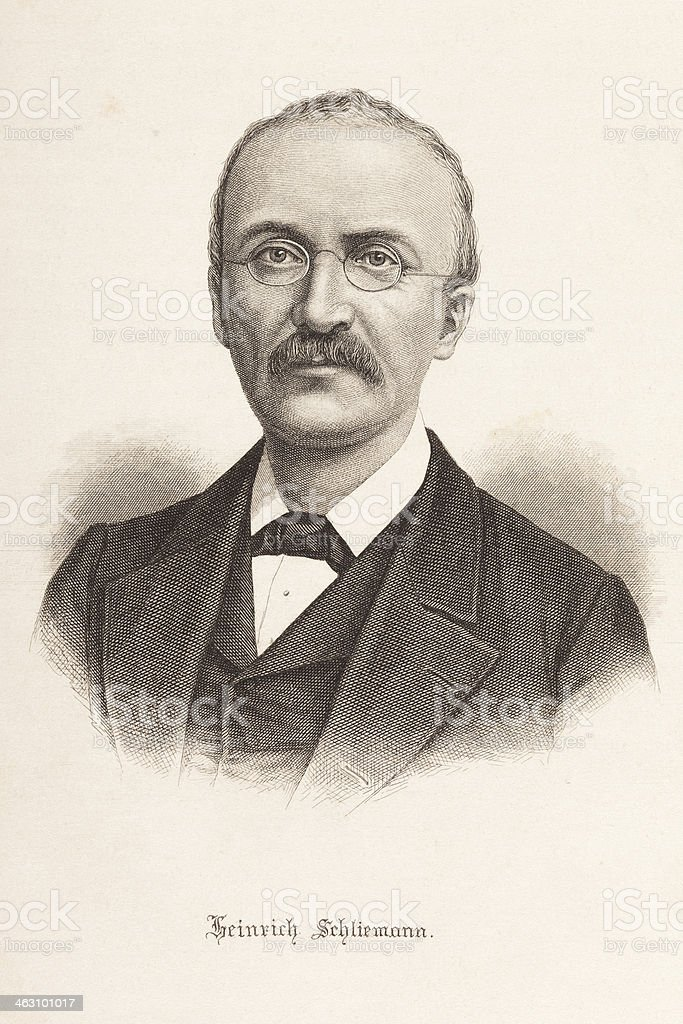 Engraving of Heinrich Schliemann royalty-free stock vector art