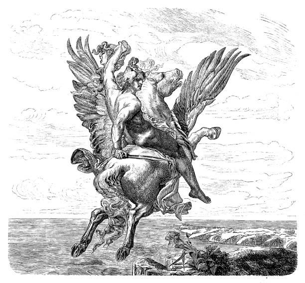engraving of hero perseus riding pegasus - pegasus stock illustrations