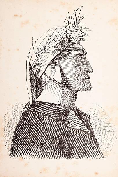 illustrazioni stock, clip art, cartoni animati e icone di tendenza di incisione del filosofo poeta italiano dante alighieri - dante alighieri