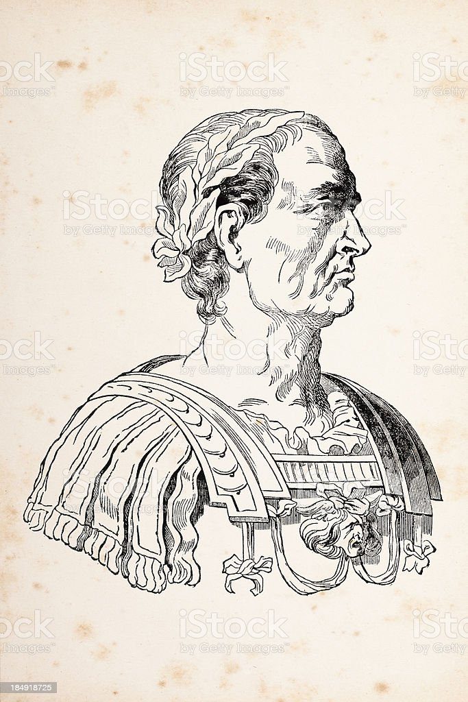 Engraving of Julius Caesar or Augustus Casus Octavianus 1837 royalty-free stock vector art