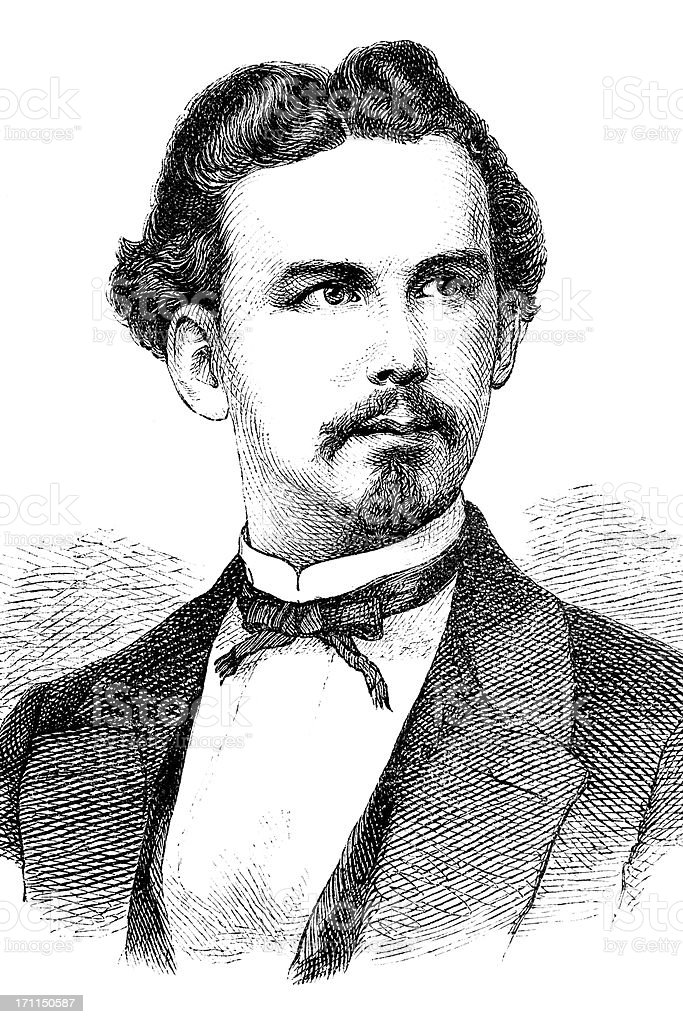 Engraving of King Ludwig II from 1870 royalty-free stock vector art