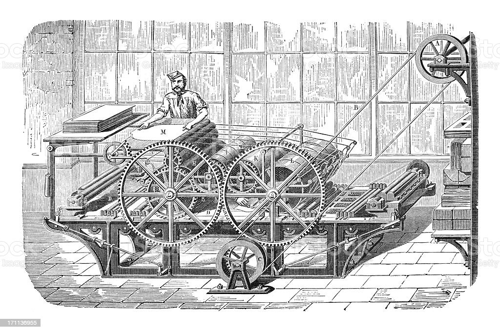 Engraving of man working at a printing machine vector art illustration