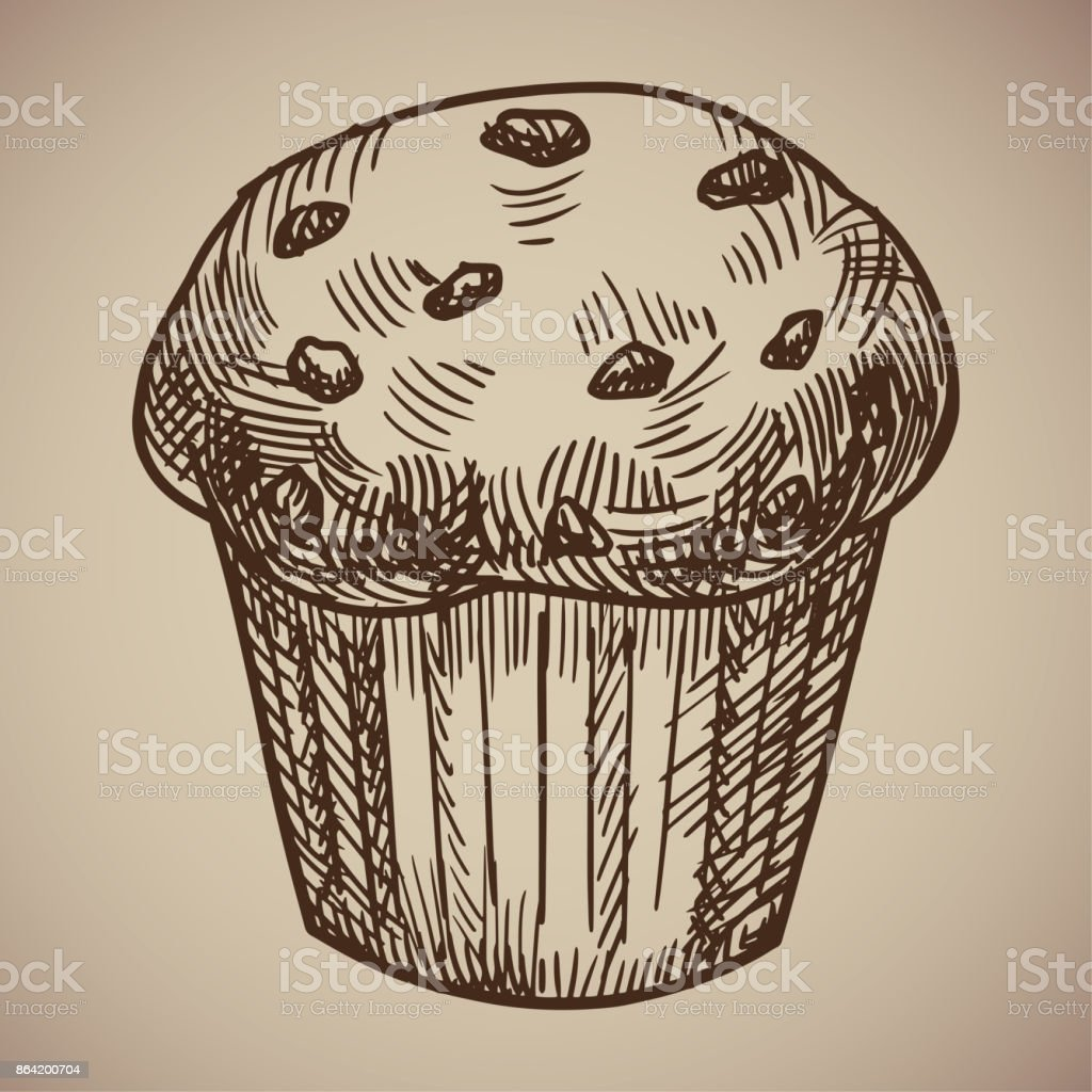 Engraving of muffins. Delicious chocolate pastry sketch. Engraving menu for the restaurant. Vector illustration. vector art illustration