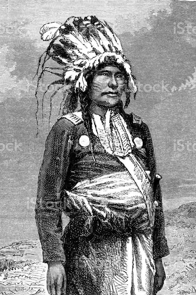 Engraving of native american chief 1868 vector art illustration