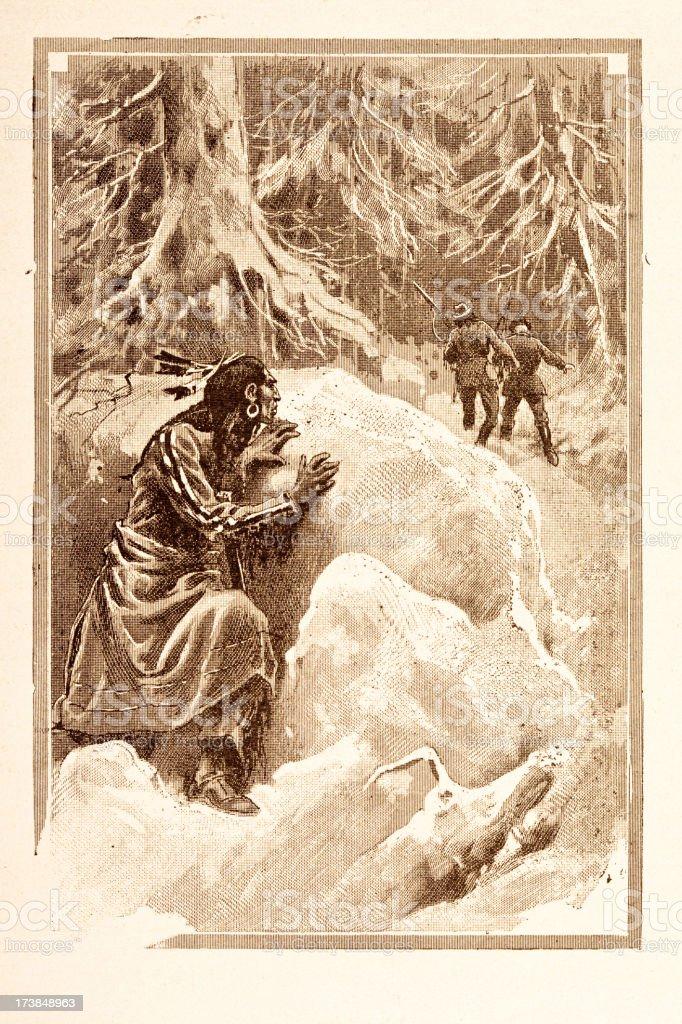 Engraving of native american lying in ambush 1881 royalty-free stock vector art