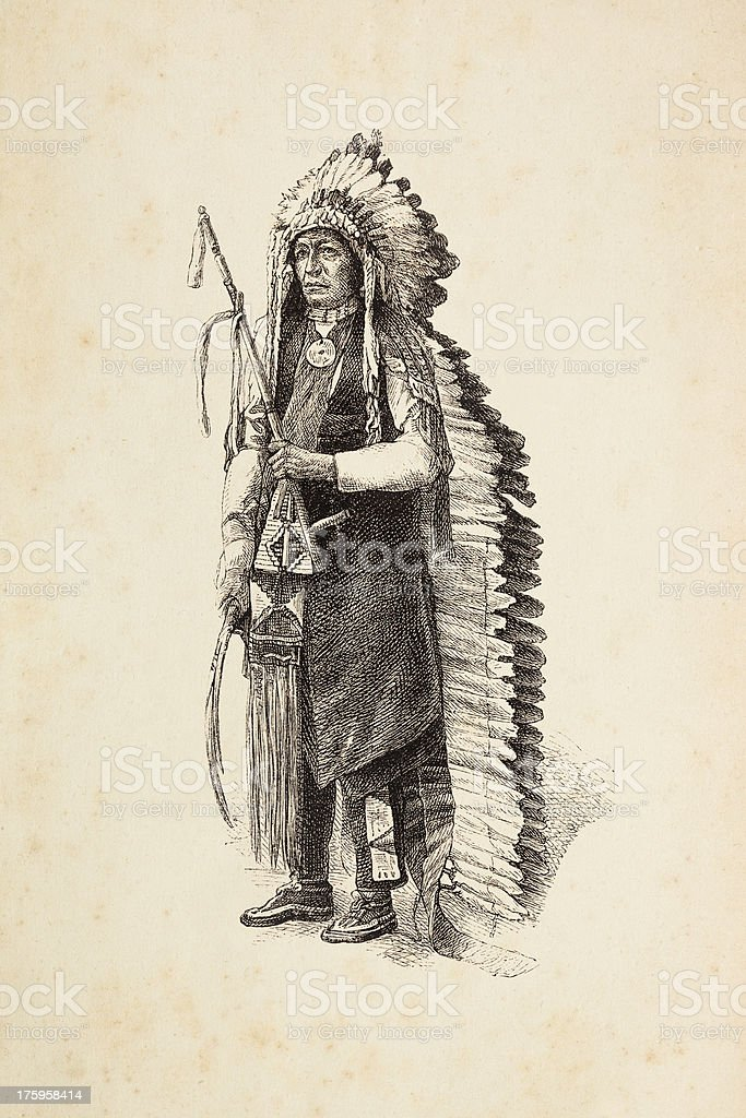 Engraving of native american tribal chief with calumet and headdress royalty-free stock vector art