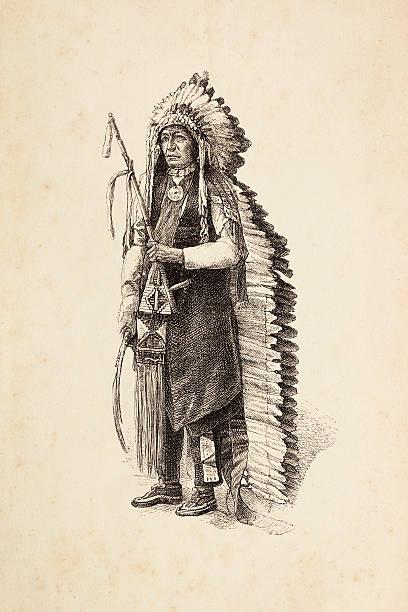 Entalhes de nativos americanos chefe tribal com calumet e com adereços na cabeça - ilustração de arte em vetor