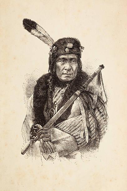 Entalhes de nativos americanos com calumet chefe tribal - ilustração de arte em vetor
