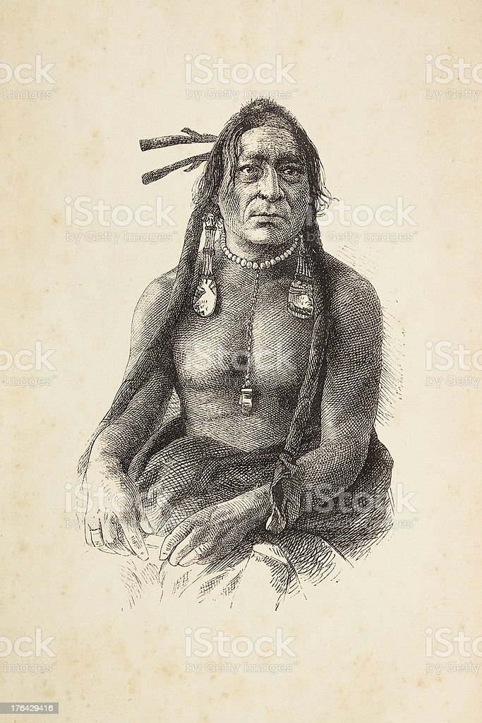 Engraving of native american tribal chief with headdress royalty-free engraving of native american tribal chief with headdress stock vector art & more images of 18th century