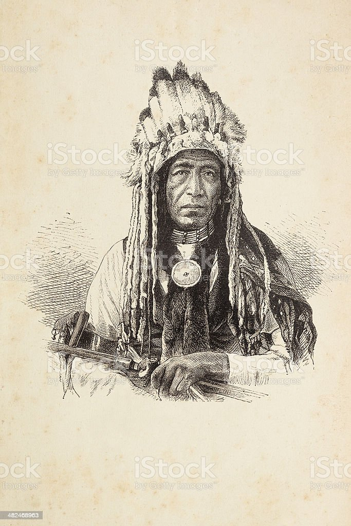 Engraving of native american tribal chief with headdress vector art illustration
