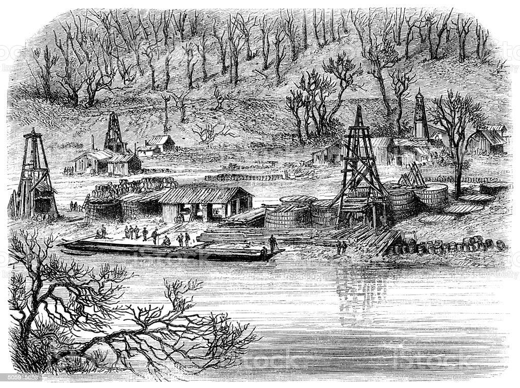 Engraving of oil rigs in Philladelphia Pennsylvania United State vector art illustration