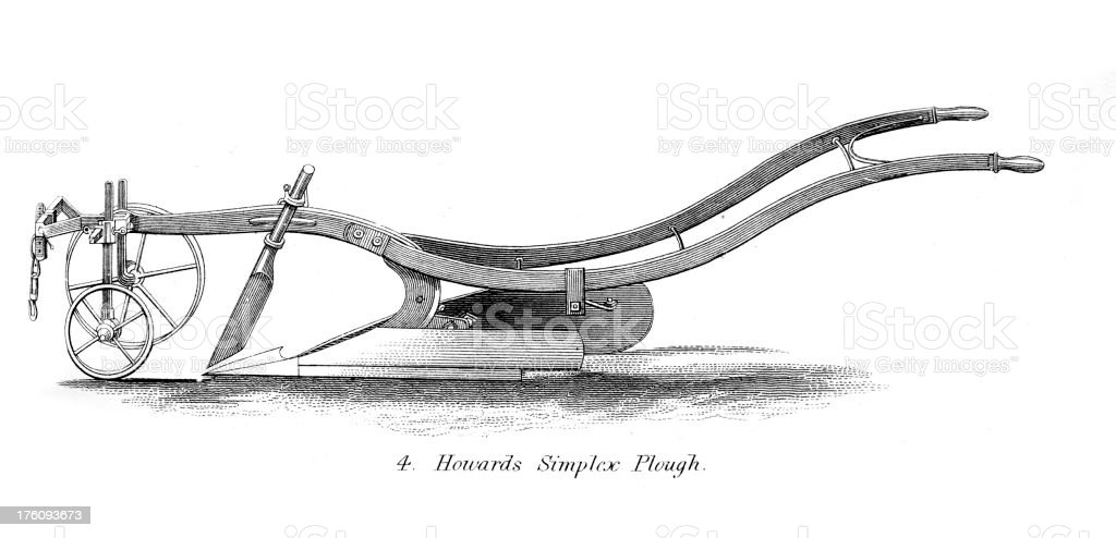 Engraving of old ploughs - Agricultural Machinery vector art illustration