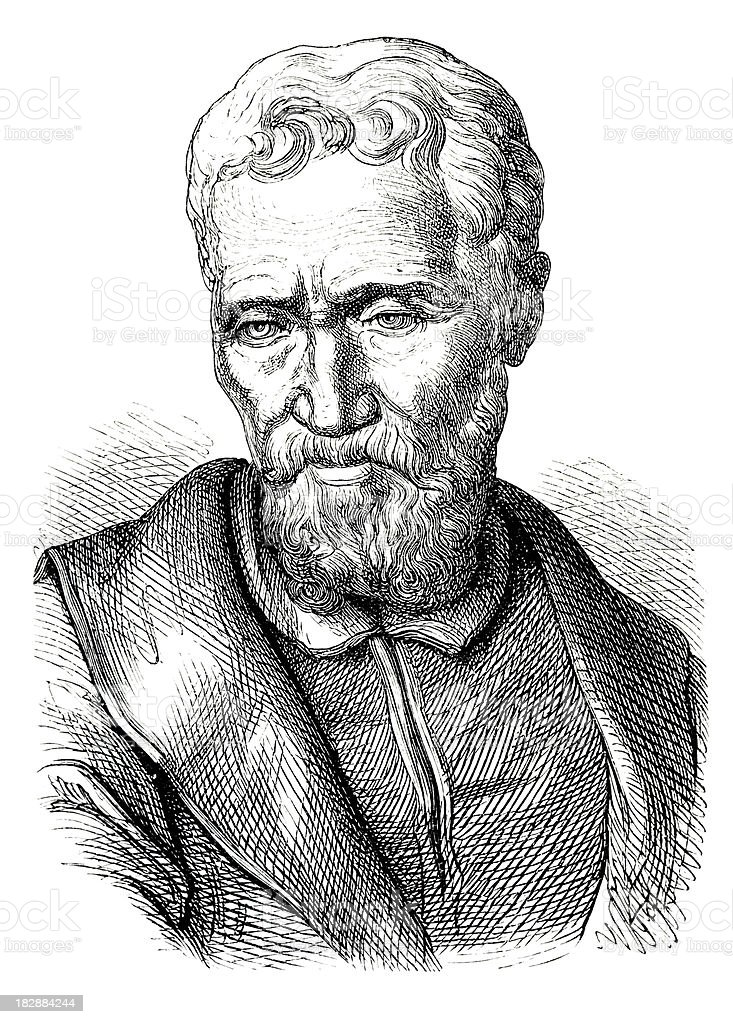 Engraving of painter Michelangelo from 1870 vector art illustration