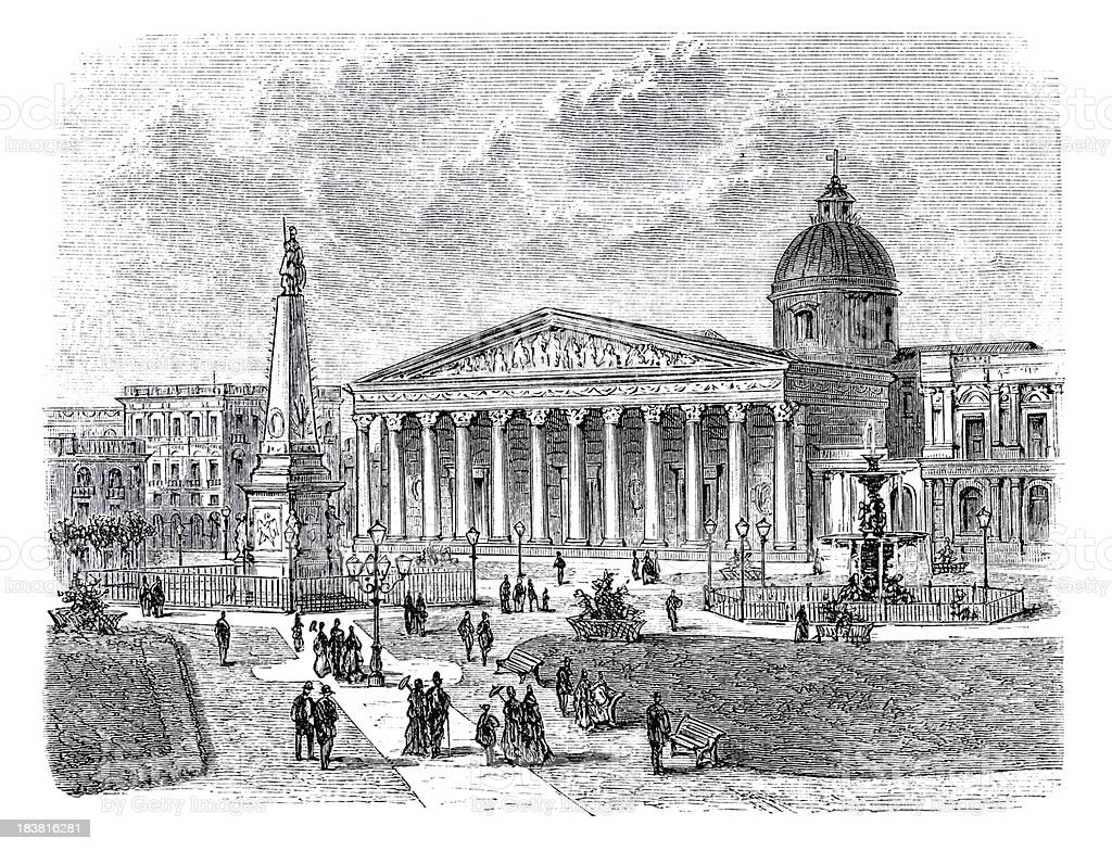 Engraving of Plaza de Mayo in Buenos Aires Argentina 1870 vector art illustration