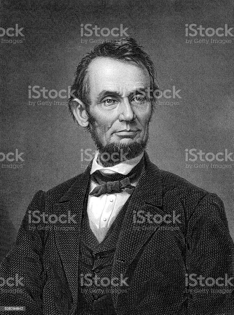 Engraving of Portrait of Abraham Lincoln from Brady Photograph vector art illustration