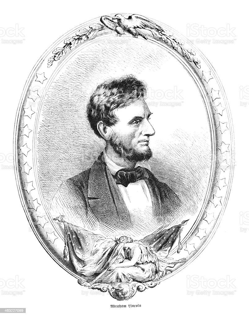 Engraving of president Abraham Lincoln vector art illustration