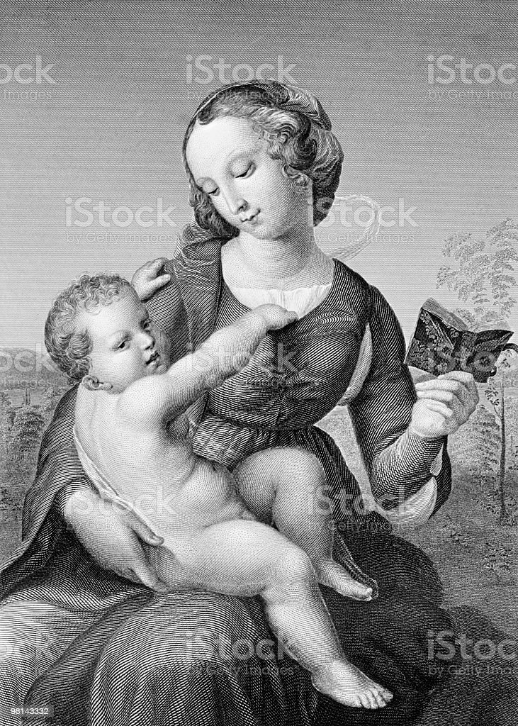 Engraving of Raphael's Colonna Madonna, circa 1508 royalty-free engraving of raphaels colonna madonna circa 1508 stock vector art & more images of affectionate