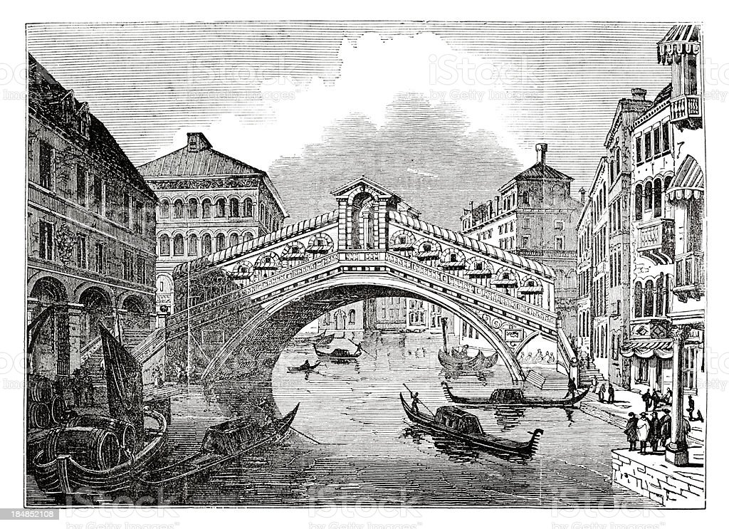 Engraving of Rialto Bridge over Canal Grande in Venice Italy royalty-free engraving of rialto bridge over canal grande in venice italy stock vector art & more images of 18th century