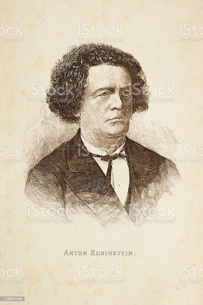 Engraving of russian composer Anton Rubinstein from 1881 royalty-free stock vector art