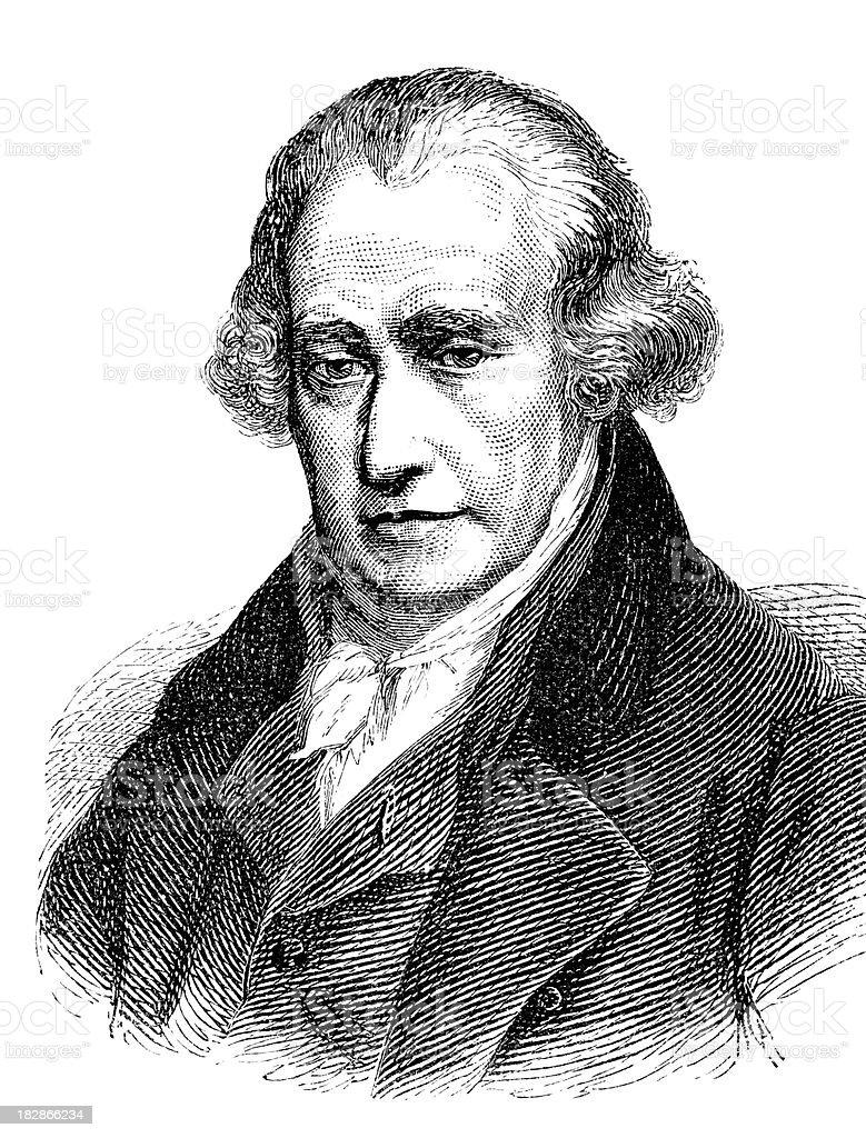 Engraving of Scottish inventor James Watt from 1870 vector art illustration