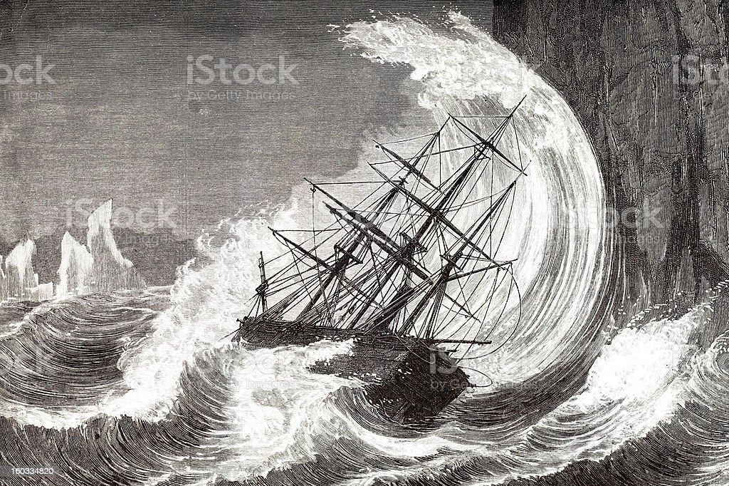 Engraving of sinking ship in a hurricane 1873 vector art illustration