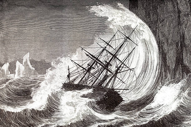 stockillustraties, clipart, cartoons en iconen met engraving of sinking ship in a hurricane 1873 - 18e eeuw