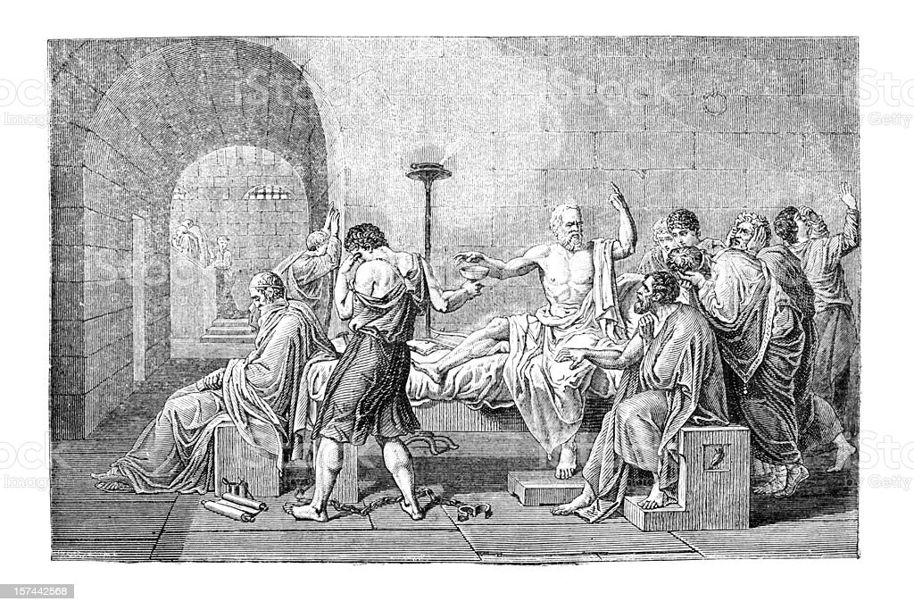 Engraving of Socrates death royalty-free stock vector art