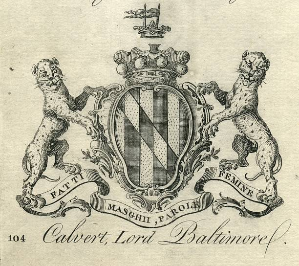 Coat of Arms Calvert Lord Baltimore 18th century vector art illustration