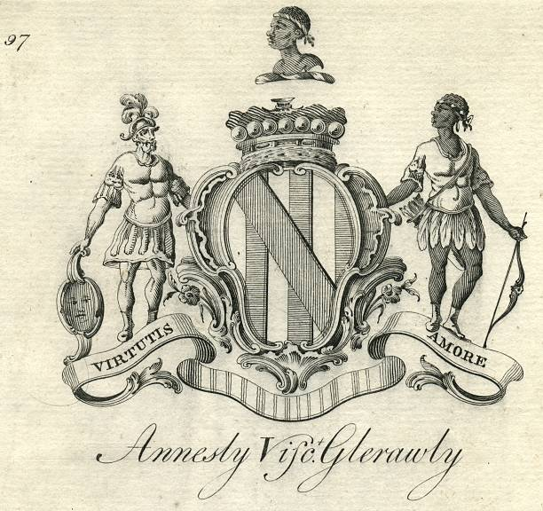 Coat of arms Annesly Viscount Glerawly 18th century vector art illustration