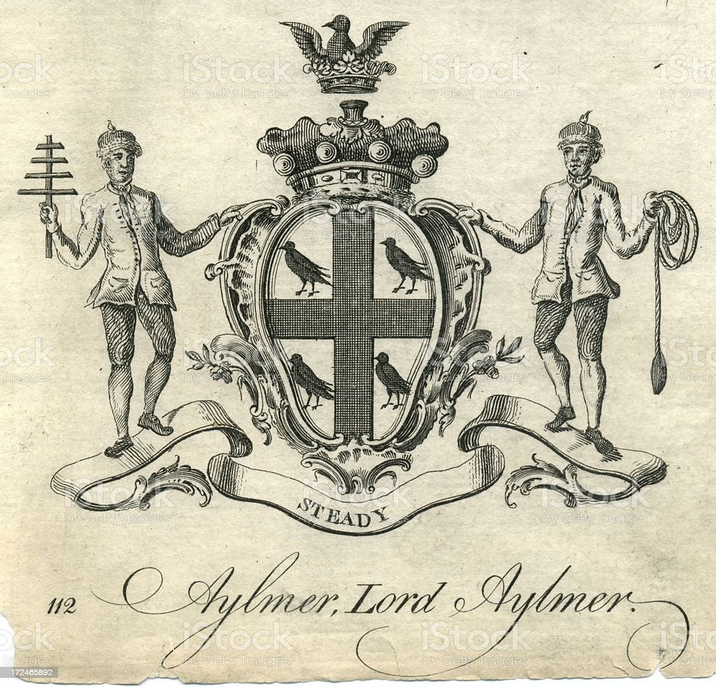 Coat of arms Lord Aylmer 18th century vector art illustration