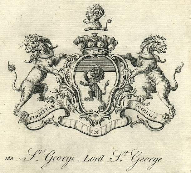 Coat of arms Lord St. George 18th century vector art illustration