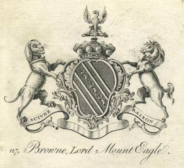 Coat of Arms Browne Lord Mount Eagle 18th century vector art illustration