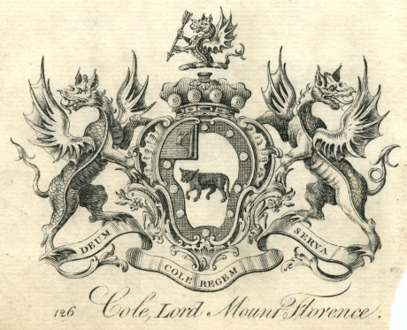 Coat of arms Cole, Lord Mount Florence 18th century