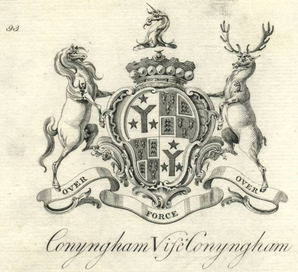 Coat of arms Viscount Conyngham Cunningham 18th century vector art illustration