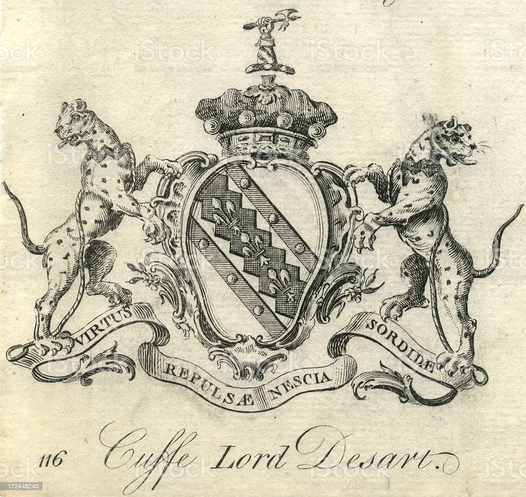 Coat of arms Cuffe Lord Desart 18th century vector art illustration