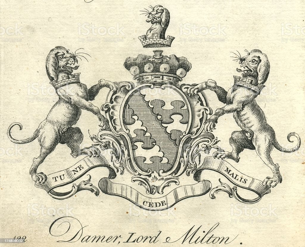Coat of Arms Damer, Lord Milton royalty-free coat of arms damer lord milton stock vector art & more images of 18th century style