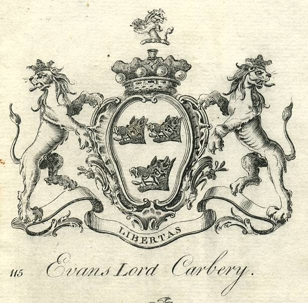 Coat of arms Evans Lord Carbery 18th century vector art illustration